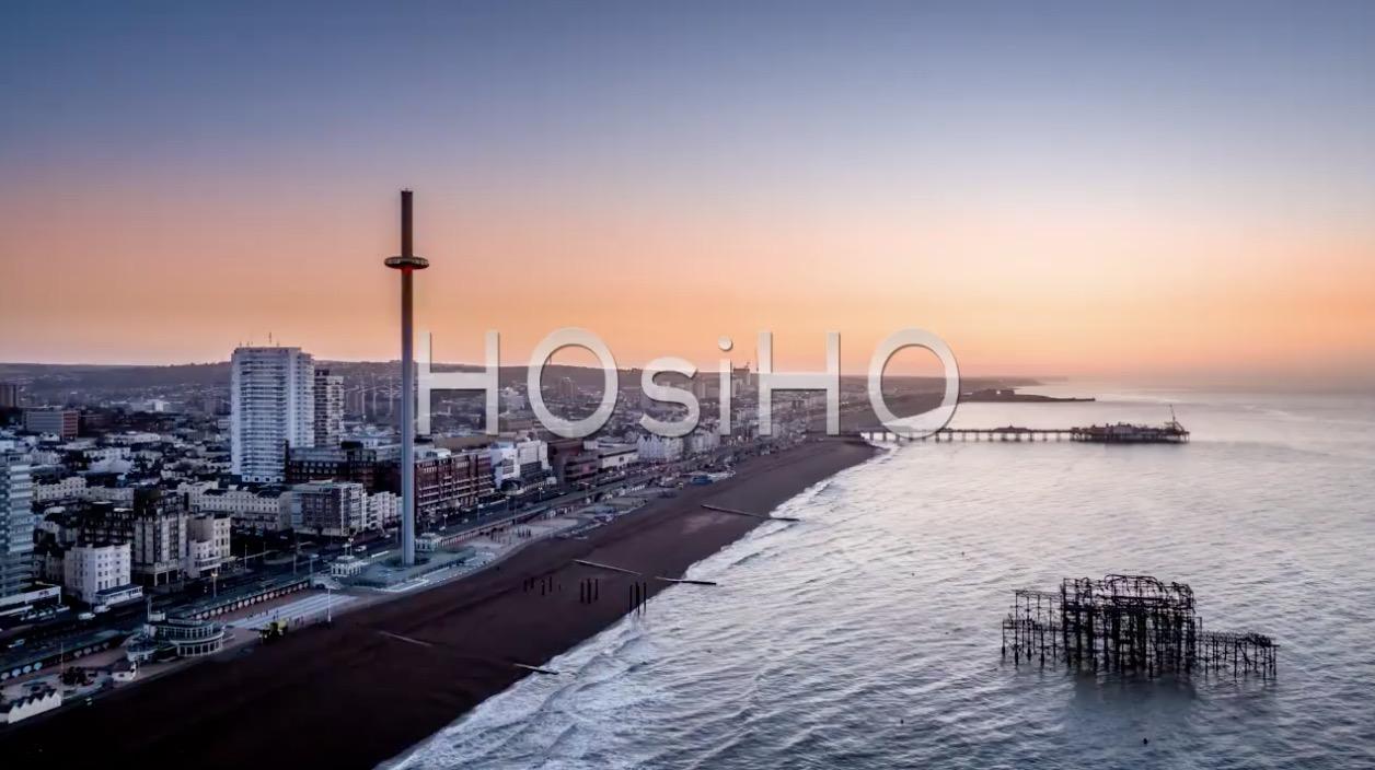 Aerial view of Brighton, filmed by drone, United-Kingdom, on HOsiHO.com