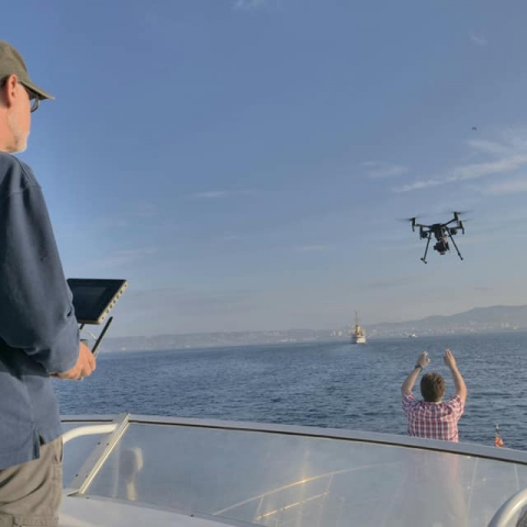 The use of drones to measure the chemistry of ship plumes