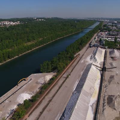 Aerial photography of Rhone River and GCA Rhonatrans at Solaize, France © Drone-Pictures