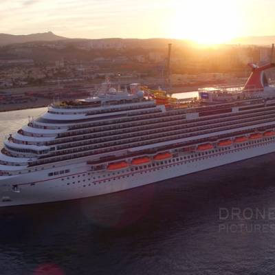 Carnival cruise ship aerial image in Marseille harbor, France © Drone-Pictures
